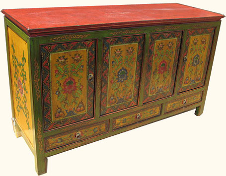 Server In Oriental Tibetan Style With Drawers And Doors