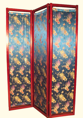 Three panel 72 inch tall Shoji screen, covered in turquoise wisteria design fabric.