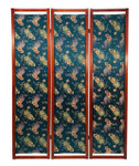 Fabric Floor Screen in Blue Floral