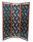 Blue Floor Screen in Floral Silk