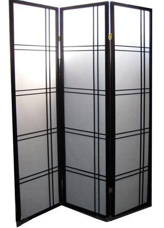 3 panel wood and paper Shoji screen with black trim
