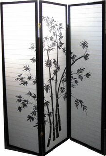 "3 panel 70 "" tall Shoji screen with bamboo design. Black frame, white paper"