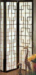 "71 inch tall Santa Fe wood and paper screen or room divider. 3 panels, each 17.75 "" wide"
