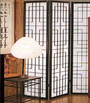 "71 inch tall Canton screen or room divider of wood and paper. 3 panels, each 17.75 "" wide"