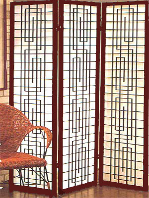 "71 inch tall Ibiza screen or room divider of rosewood and paper. 3 panels, each 17.75 "" wide"