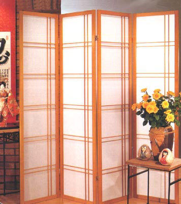 Tokyo 4 panel screen with walnut frame