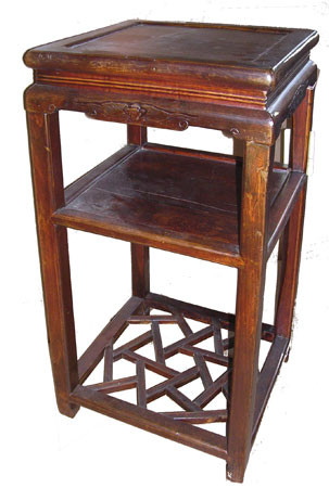 Asian Antique Wooden Plantstand Cracked Ice Carving 30 Quot H