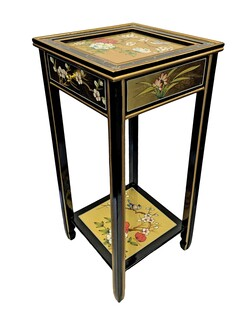 Chinese Plant Stand Painted Birds and Flowers