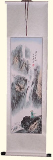 Silk scroll: Wise man with waterfall