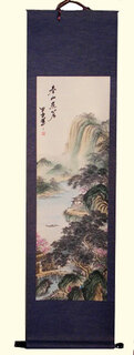 Silk scroll: Mountain lake retreat