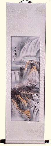 Silk Scroll In Asian Copper Mountain Scene 54 H