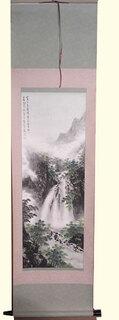 Silk scroll: Mountain waterfall scene