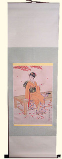 Silk scroll: Geisha sitting on pad