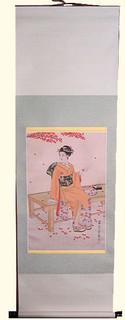 Silk scroll: Geisha sitting on pad