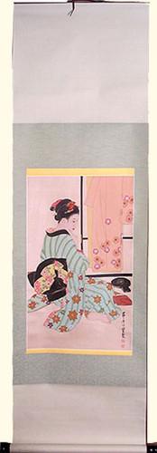Silk scroll: Geisha sitting with komono stand