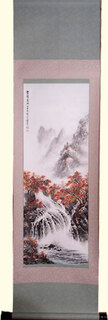 Silk scroll: Multi color autumn trees with waterfall