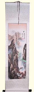 Silk scroll: River boat and mountain scene
