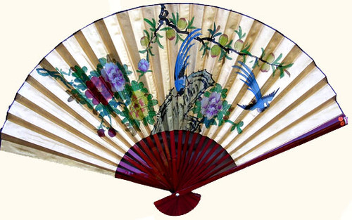 35 inch high gold fan with birds
