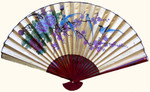 35 inch high gold fan with song birds