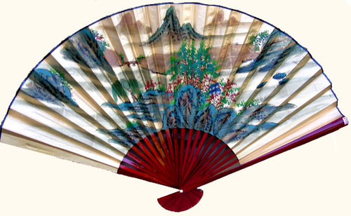35 inch high gold fan with mountain landscape