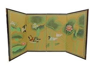 Large Oriental Silk Screen Hand Painted Ducks