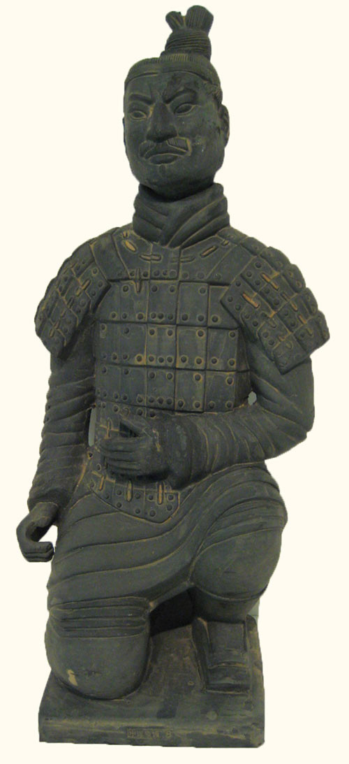 Asian Reproduction Kneeling Warrior Statue 12H