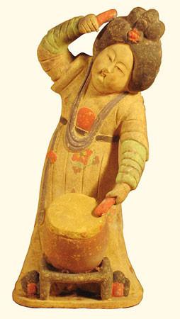 Asian Ceramic Lady Drummer Statue 14 H Oriental