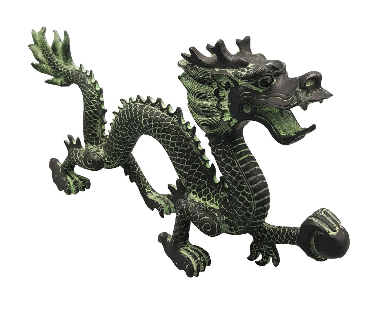 Dragon Statue In Oriental Bronze For Asian Accent 8 H