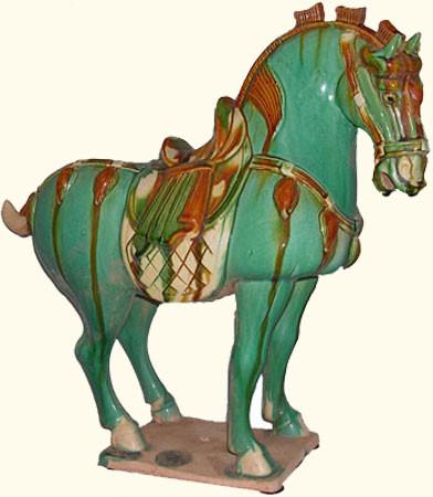 Chinese Sculpture Celadon Horse Oriental Furnishings