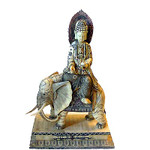 25 inch tall cow bone carving of Kwan Yuen on an elephant