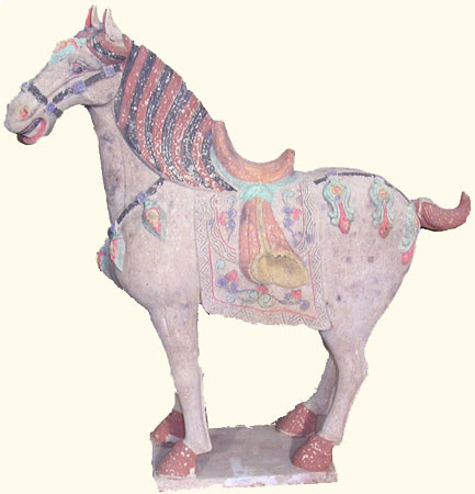 17 inch tall Tong dynasty style ceramic horse