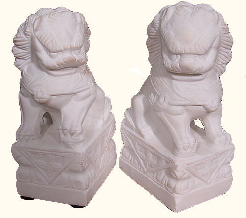 SALE SALE Pair Of Marble 7 1/2 Inch Tall Mini Foo Dogs For Indoors