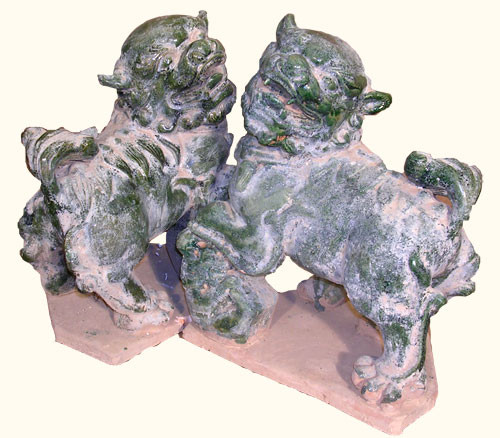 Asian Sitting Foo Dog Statues In Green Rustic Finish 14 H