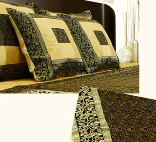 Black Aurous:   black and cream silk bedspread, pillow and cushion