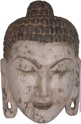 Asian Wooden Buddha Mask In Antique Finish Oriental