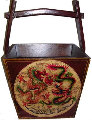 Tibetan style hand painted 22 inch high water bucket