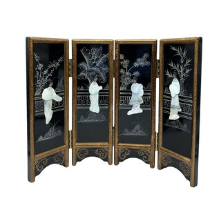"14"" H. Hand Painted Oriental Black Lacquer with Mother of Pearl Folding Screen"