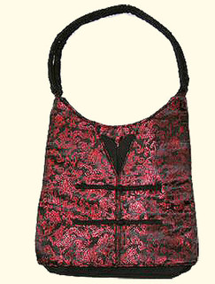 black and red dragon design lady's bag with outside zip and inside zippered compartment