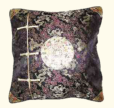 Stunning Gold dragon medallion on black rayon Pillow-FREE SHIPPING