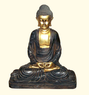 Sitting Buddha statue in black and gold