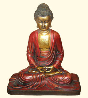 Sitting Buddha statue in Red and Gold
