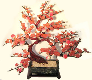 Weeping  peach stone and glass bonsai tree