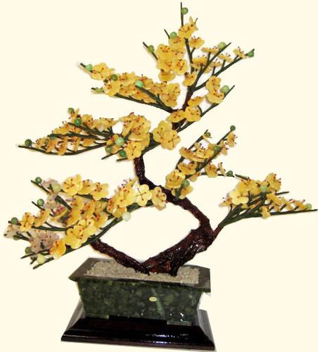 Stone & glass bonsai plum tree