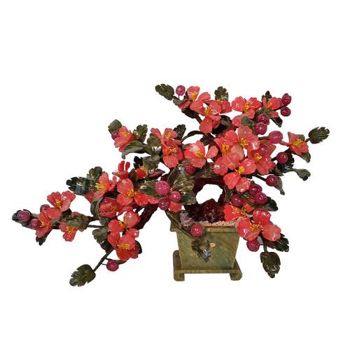 Oriental Bonsai Tree Carved Stone Flowers