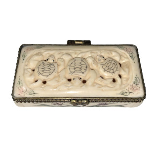 Oriental Hand Carved Bone Pill Box