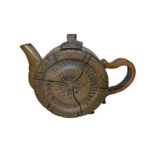 Oriental Teapot Scuplted Round Bamboo