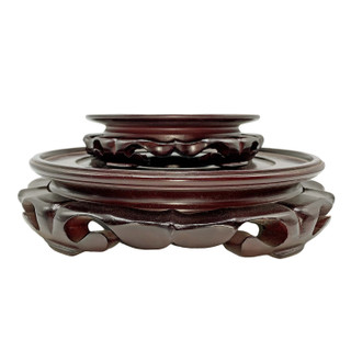 Dark Red Mahogany Color Lotus Design Vase Stand