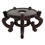Dark mahogany color 5-legged Chinese porcelain fish bowl stand