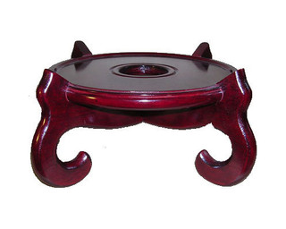 Dark Mahogany Color 4-Legged Oriental Fish Bowl Stand