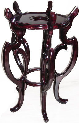 Asian Fishbowl Stand In Dark Mahogany With Carved Design